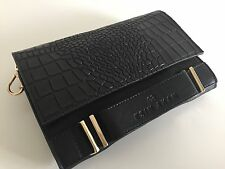 Esin Akan Black Leather Croc Effect Clutch Side Bag - Dover Street Market