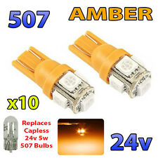 10 x AMBER 24v Capless Side Light 507 501 W5W 5 SMD T10 Wedge Bulbs HGV Truck
