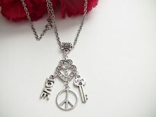 """Necklace Silver Toned Metal Girl Gift Rhinestones 16.5"""" C Love Peace Key Heart"""