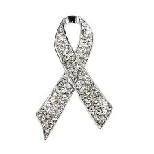 Luxury Silver White Rhinestones Breast Cancer Awareness Bow Pin Brooch BR411