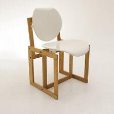 Sedia in legno e plastica bianca, vintage dining chair, carlo scarpa style, 70