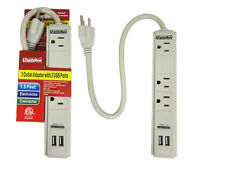 3 Outlet Surge Protector Dual 2 USB Charging Ports Power Socket Strip Adapter !