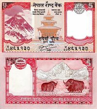 Nepal 5 rupees Banknote World Paper Money UNC Currency Pick p-60b Bill Note Yaks