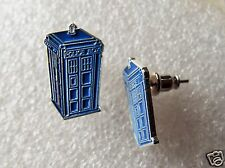 Pair of Dr Who Tardis Blue Police Box earrings for pierced ears