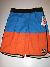 Quiksilver Boys 28/16 Division Scallop Orange Blue Surf Board Trunks Shorts