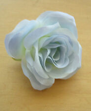 "3.5"" Baby Blue Satin Silk  Rose Silk Flower Hair Clip, Wedding, Prom, Dance,"