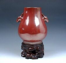 Monochrome Gold Gilt Ox-Blood Red Large Mouth Vase Deer Handles FREE STAND Decor