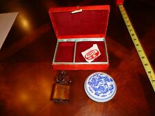 "Beautiful CHINESE STAMP SET ""PATTY"", CARVED WOOD MONKEY STAMPER,CHINA W RED INK"