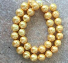 """18""""L 12-13MM NATURAL SOUTH SEA GOLDEN PEARL NECKLACE 14K CLASP"""