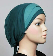 TEAL Fancy Cotton Women Bonnet Cancer Chemo cap Hijab Turban Cap Beanie scarf