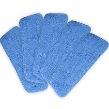 "Lot of 5 Blue Microfiber Mop Pads Head Wet Dry Mops Refill For 15"" Flat Mop Base"