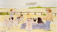 Pug Print: Off To The Dog Show by UK Artist Sandra Coen