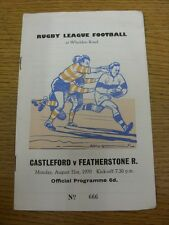 31/08/1970 Rugby League Programme: Castleford v Featherstone Rovers. Item appear