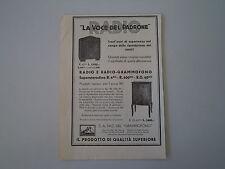 advertising Pubblicità 1934 RADIO E GRAMMOFONO LA VOCE DEL PADRONE