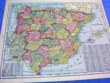 ANTIQUE MAP OF SPAIN & PORTUGAL    FROM  1899  BEAUTIFULLY COLORED    LOOK!