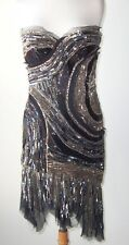 ROBERTO CAVALLI Black Silk Sequin Beaded Jeweled Bustier Corset Dress 44 8