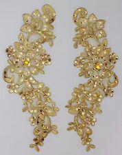 Extra Large Handmade Venise Lace Sequins Applique Trim Motif  Metallic Gold  #12