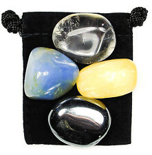 MEMORY BOOST Tumbled Crystal Healing Set = 4 Stones + Pouch + Card