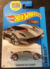 2014 Hot Wheels CUSTOM Lamborghini Sesto Elemento w Real Riders NEED FOR SPEED