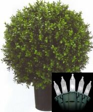 "24"" Artificial Outdoor UV Boxwood Bush Ball Topiary Christmas Tree & Lights 2'"