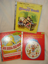 Vintage Little Golden Books The Sleepy Book, Big Bird's Red, I Think About God