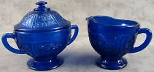 COBALT BLUE GLASS FLORAL CREAM & SUGAR BOWL SET  ~ Sharon Rose Design ~