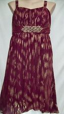 Autograph maroon formal metalicGold BEADED evening Dress 14 retail $129.00 NEW