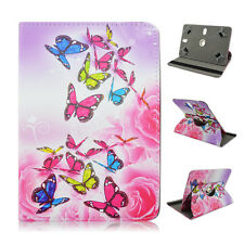 """Fits LINSAY F10XHD 10.1"""" Tablet Pink Butterfly Flower folio CASE COVER"""