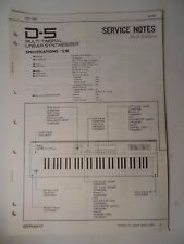 Original ROLAND Service Notes-  D-5 Multi Timbral Linear Synthesizer