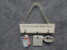 """""""World's Greatest Bingo Player"""" Hanging Wooden Plaque Sign Home Decor Gift NEW"""