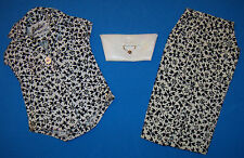 2 Vint Barbie Pak Black & White Floral Print Plain Blouse & Sheath Skirt Clutch