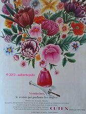 PUBLICITE CUTEX VERNIS A ONGLE VERNISSOMO PARFUM DE FLEURS DE 1966 FRENCH AD PUB