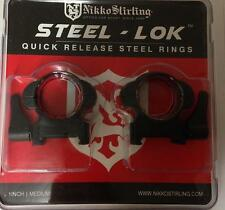 Nikko Steel LOK Quick Release QD Weaver/Picatinny Scope Mount Rings - Med/Low 1""