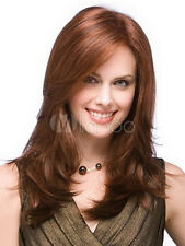 Mahogany Medium Side Parting Heat-resistant Fiber Medium Wig For Women
