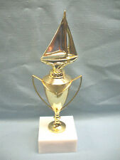cast metal gold trophy metal cup sailboat plastic square white base