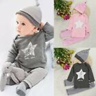3pcs Newborn Infant Baby Boy Girl Kids T-shirt Tops+Pants+Hat Outfit Clothes Set