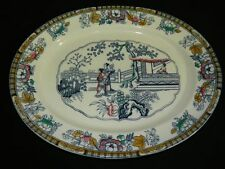 "1840's ANTIQUE ENGLISH IRONSTONE by H&C CHINESE PATTERN PLATTER 18"" x 14.5"""