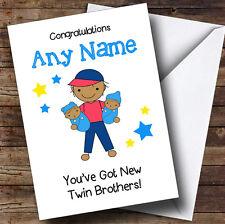 Grand frère asiatique nouveau bébé frères jumeaux Garçons Personnalisé frère carte