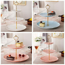 3 Tier Hardware Crown Cake Plate Stand Handle Fitting Wedding Party Gold CC