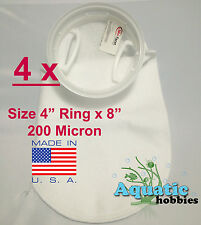 "4x Filter Sock 4"" Ring x 8"" 200 Micron Felt Polypropylene Quality PecoFacet"