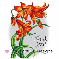 Flower Lily, Cling Unmounted Rubber Stamp C.C. DESIGNS - New, JD1065