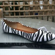 SIZE 7, EU 40 BLACK & WHITE ZEBRA PRINT FAUX LEATHER, BALLERINA, PUMPS, NWOT