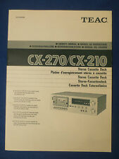 TEAC CX-270 CX-210 OWNER MANUAL WITH SCHEMATIC FACTORY ORIGINAL ISSUE