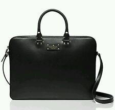 New Kate Spade Wellesley Tanner Leather Laptop Case Bag  Black travel