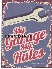 MY GARAGE MY RULES METAL SIGN RETRO VINTAGE STYLE SMALL