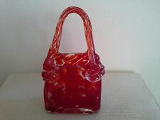 Red Purse Hand Blown Art Glass Vase Pencil Holder Leopard Spots New