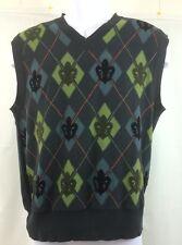 Marc Ecko Cut & Sew Mens Vest Argyle & Fluer De Lis Nice! Size M