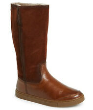 NEW FRYE Gemma Tall Cognac Suede/Leather Genuine Shearling Lined Boot Size US 7