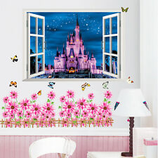 Stars Night 3D Castle Window room Decor background Decal Wall Sticker Art Poster