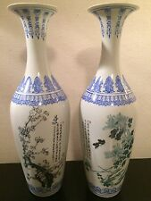 Beautiful PAIR of Chinese Fine Eggshell Porcelain Vases Signed Jingdezhen Zhi